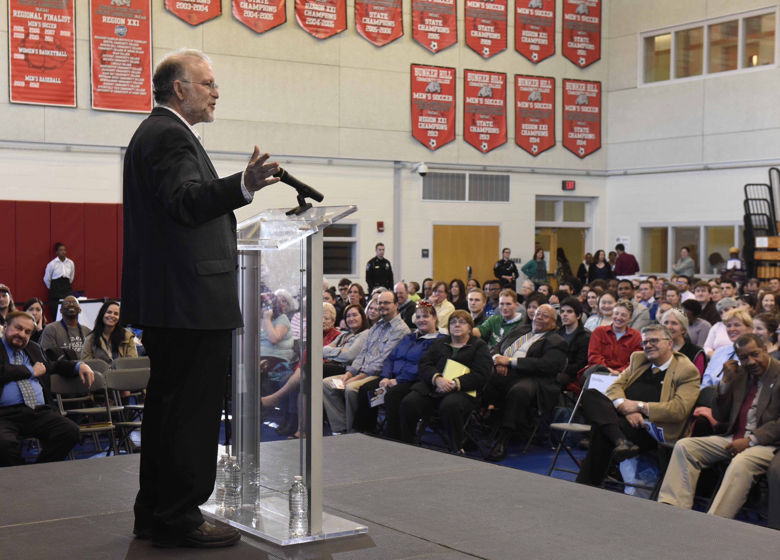 Jerry Greenfield, co-founder of Ben & Jerry's Homemade, Inc., addressing the audience at Bunker Hill Community College.