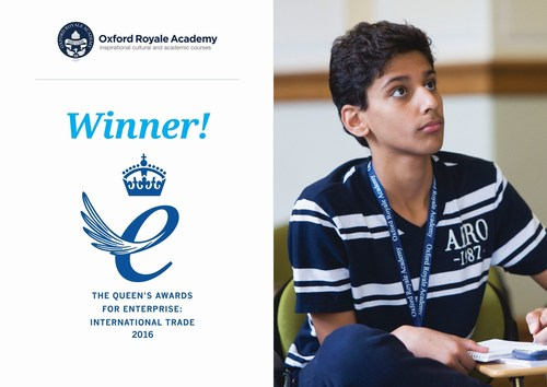 ORA is delighted to have received its second Queen's Award in four years. (PRNewsFoto/Oxford Royale Academy)