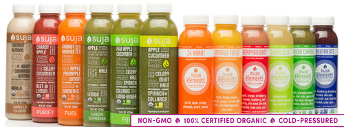 Suja Juice Co., a leading cold-pressured juice company and founder of Suja Juice, Suja Elements and Suja Essentials, was named third among Forbes Magazine's list of America's Most Promising Companies of 2014.  (PRNewsFoto/Suja Juice Co.)