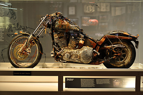 MILWAUKEE, WI (October 24, 2012) - Ikuo Yokoyama's Harley-Davidson motorcycle is unveiled at the Harley-Davidson Museum during a special preview event last night.  Yokoyama's motorcycle drifted more than a year across the Pacific Ocean following the tragic tsunami that devastated parts of Northern Japan last year.  The 2004 Harley-Davidson FXSTB Softail Night Train is being displayed at Yokoyama's request as a memorial to those whose lives were lost of forever changed by the tsunami.  (PRNewsFoto/Harley-Davidson Museum)