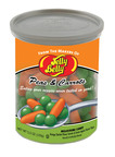 "Jelly Belly Candy Company, Fairfield, Calif., brings fans a new sweet blast from the past with a nostalgic candy dubbed Peas & Carrots mellocremes packaged in a novelty ""can"" of veggies. The company known for its wide array of jelly beans introduced Peas & Carrots at the 2011 Winter Fancy Food Show. The new confection will ship to retail stores nationwide next month.  (PRNewsFoto/Jelly Belly Candy Company)"