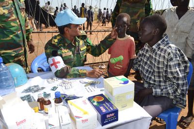 UNMISS peacekeepers have been assisting displaced civilians in South Sudan by providing protection and medical support, and building sanitation. UN Photo/UNMISS. (PRNewsFoto/Save the Children) (PRNewsFoto/SAVE THE CHILDREN)