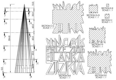 """""""The Making of a Vilcek Prize"""" follows the process of designing and manufacturing the Vilcek Prize, featuring commentary by Austrian-born designer Stefan Sagmeister, and curators Ron Labaco and Paola Antonelli. The design is a 12-inch pyramid emerging from carefully set typography featuring the prizewinner's name. The Vilcek Prizes are awarded annually to immigrants in the arts and sciences, in recognition of monumental achievements in their fields."""