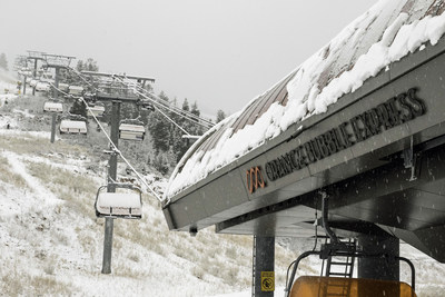 An early season storm blankets the Orange Bubble Express at Park City, which will open Saturday, Nov. 21, as the largest ski resort in the U.S.