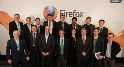 Mobile CEOs gather at Mozilla's press conference in Barcelona to announce the global expansion of the Firefox OS open mobile ecosystem.  (PRNewsFoto/Mozilla)