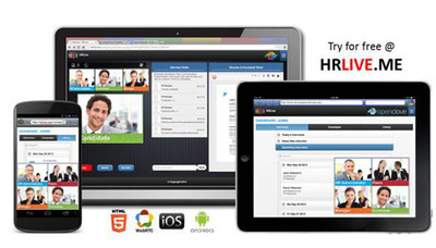 OpenClove Launches HRLive for Video Recruitment and Talent Engagement.  Available for Web, iOS and Android phones and tablets, HRLive is a cloud-based video service to embed into HR Platforms and Workflows.   Features include live video panel interviews, asynchronous video campaigns, recording, secure archiving, global dialing, interview notes and resume sharing.  Contact marketing@openclove.com for more information.  Try it free at HRLIVE.ME.  (PRNewsFoto/OpenClove)