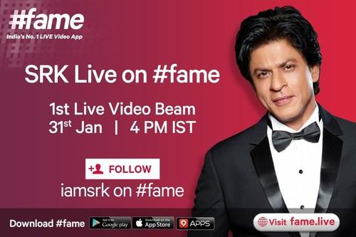 Global superstar Shah Rukh Khan to beam live on #fame (PRNewsFoto/Fame Digital Pvt Ltd) (PRNewsFoto/Fame Digital Pvt Ltd)