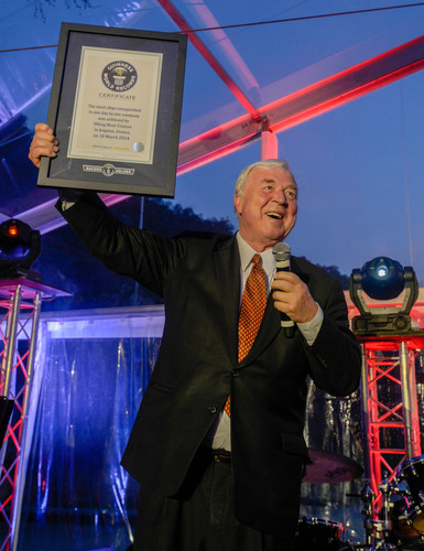 Torstein Hagen, Chairman of Viking Cruises, celebrates as the company sets a new world record with the ...
