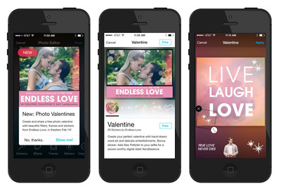 "Universal Pictures' ""Photo Valentine"" campaign brings its latest blockbuster, Endless Love, to a global mobile audience (in collaboration with Aviary and Millennial Media).  (PRNewsFoto/Aviary)"