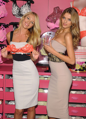 Victoria's Secret Launches New Body by Victoria Collection. Supermodels Candice Swanepoel (L) and Bregje Heinen (R) celebrated the new collection today at the Victoria's Secret Store in SoHo with fans and customers.  (PRNewsFoto/Victoria's Secret)