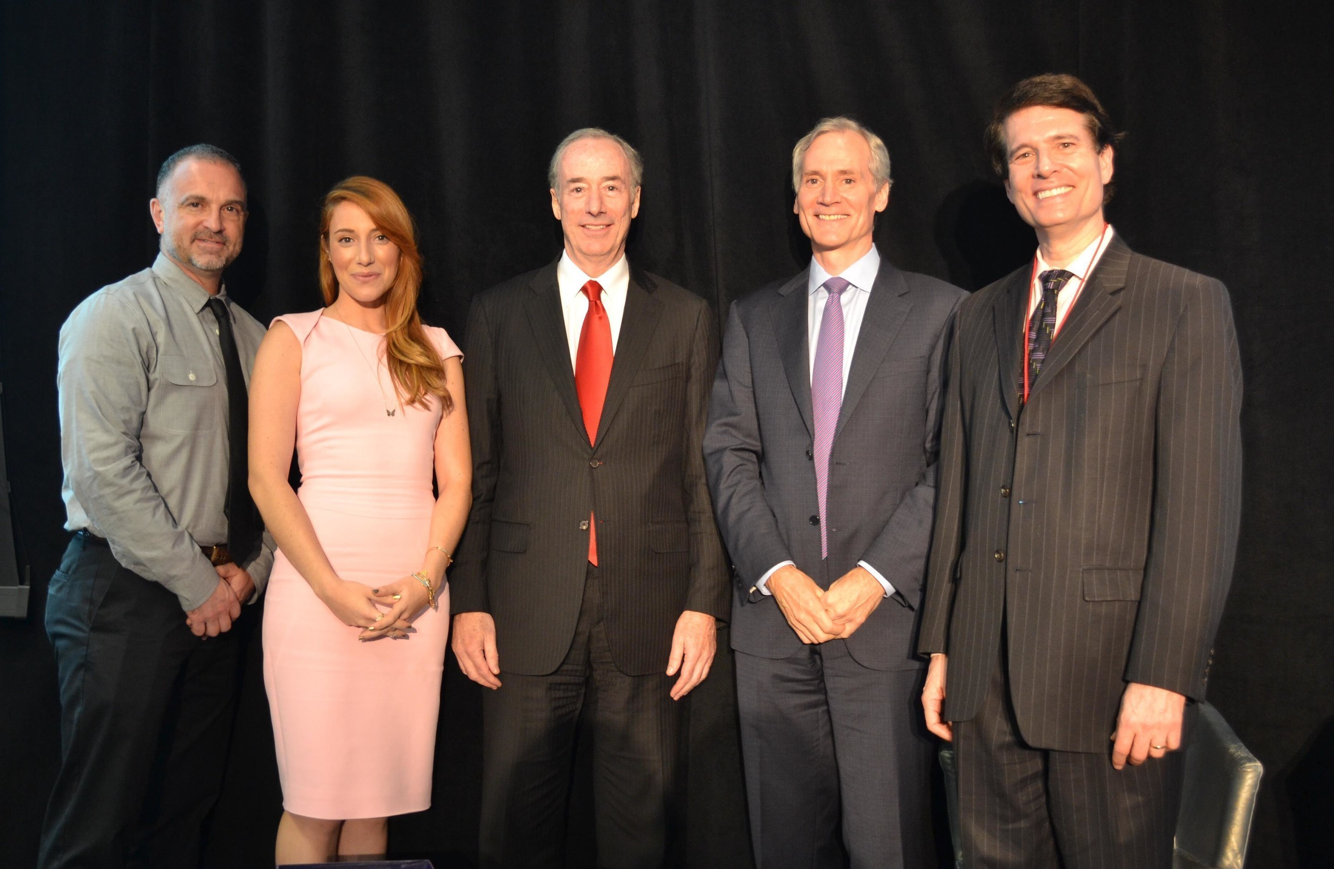 Pictured from left to right: George Yancopoulos, MD, PhD; Camila Siegel, Joel S. Marcus; Marc Tessier-Lavigne, PhD; Ron Cohen, MD