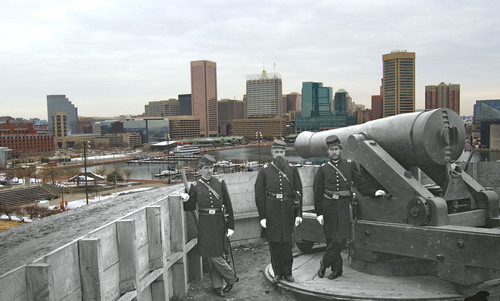 Manipulated image: Three Union soldiers are stationed on Federal Hill overlooking what is now the Inner Harbor ...