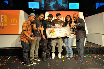 McDonald's Flavor Battle Champion DJ Element of Brooklyn, N.Y., wins $10,000 and celebrates victory in Miami Beach with 2012 Flavor Battle winner DJ Risk One, spin veterans/beatsmiths Just Blaze, DJ Clue and Spinderella and McDonald's U.S. Marketing Director Rob Jackson. McDonald's Flavor Battle is a national DJ competition that features some of America's hottest up-and-coming mix-masters and beatsmiths.  (PRNewsFoto/McDonald's USA, LLC)