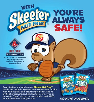 Skeeter Nut Free(TM) snacks - loved by everyone and safe for people with peanut and tree nut allergies - is the sole sponsor of the Red Sox Foundation Rookie League Program and a proud sponsor of the Massachusetts Little League Initiative. With Skeeter Nut Free, You're Always Safe!