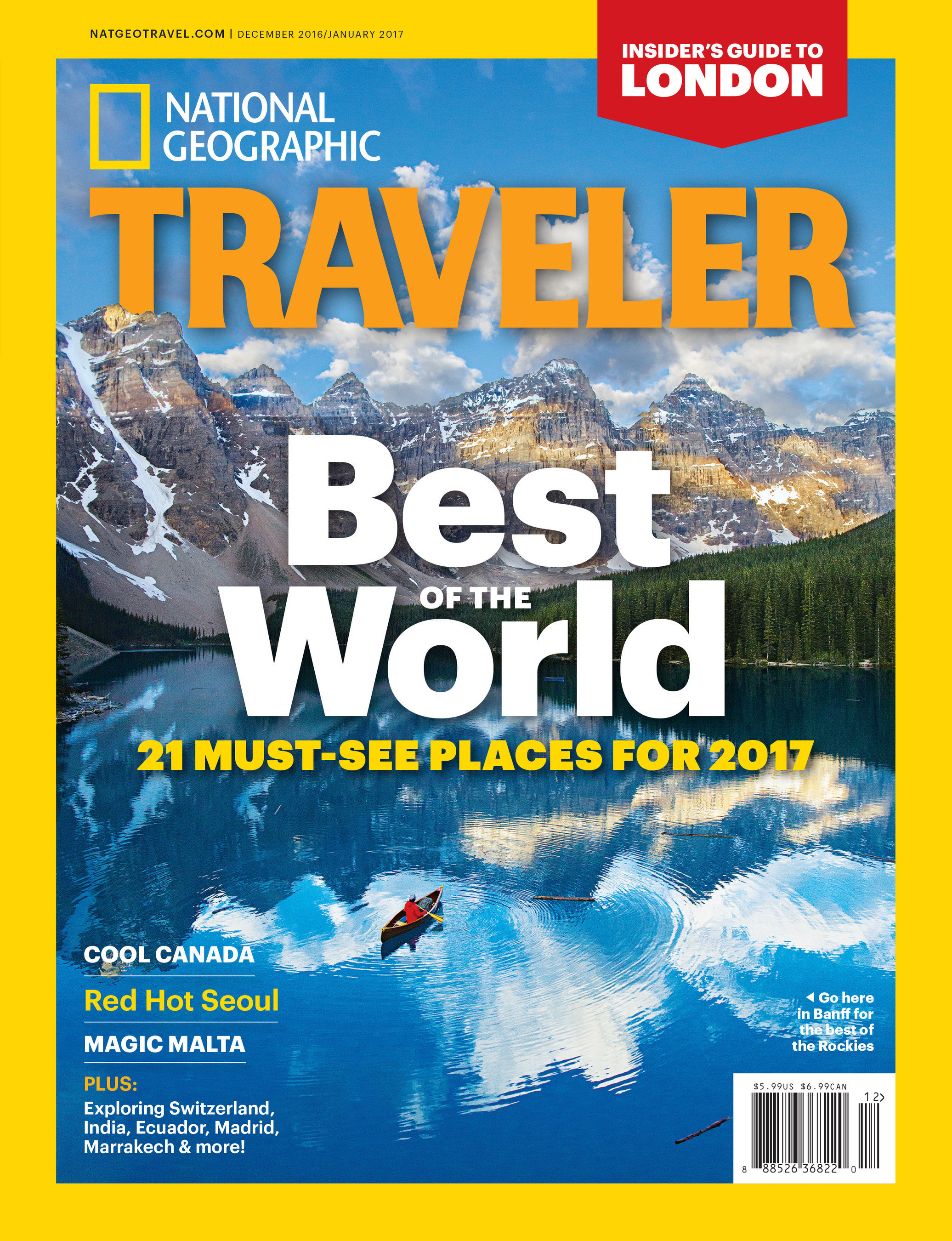 """National Geographic Traveler's December 2016/January 2017 """"Best of the World"""" issue."""