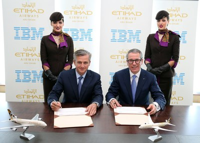 (left to right): Robert Webb, Etihad Airways' Chief Information and Technology Officer; and Martin Jetter, Senior Vice President, IBM Global Technology Services; sign $700M technology cloud, services agreement.