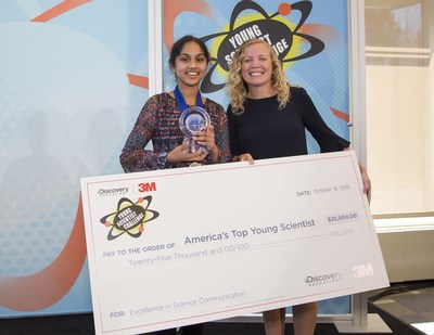 Grand prize winner Maanasa Mendu with 3M scientist mentor Margaux Mitera at the 2016 Discovery Education 3M Young Scientist Challenge in St. Paul, MN.