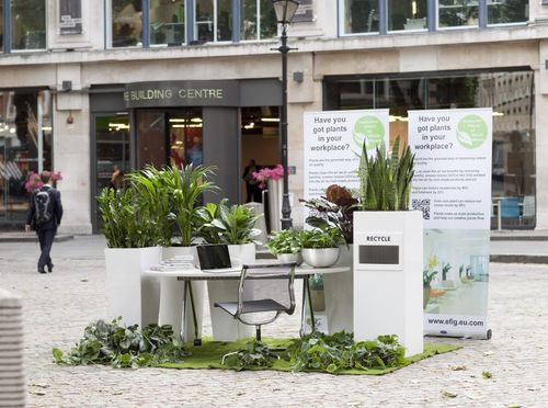 Official pop-up office for National Plants at Work Week set up outside The Building Centre in Store Street, London (PRNewsFoto/eFIG Ltd)