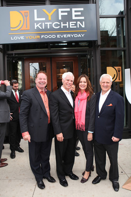 LYFE Kitchen River North's Owner-Operator Carey Cooper and President Gail Taggart with LYFE Kitchen CEO Mike Roberts and Co-Founder Mike Donahue Photo Credit: Bridget Clauson Photography.  (PRNewsFoto/LYFE Kitchen)