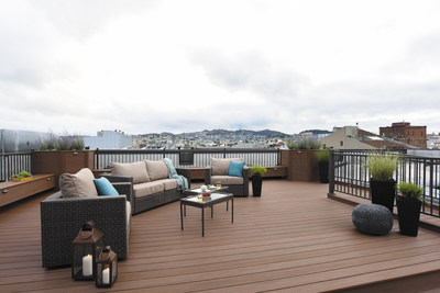 The newly built AZEK Deck where condo residents can view the San Francisco skyline.