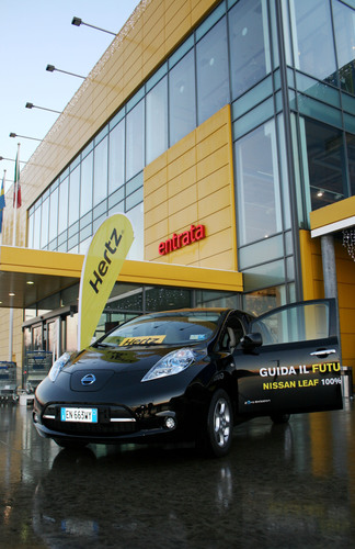 Hertz celebrates the launch of its ElectriCity initiative in Milan; a move that will see electric Nissan LEAFs ...