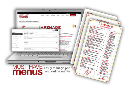 MustHaveMenus collaborates with Tapenade restaurant to create and update beautiful menus on and offline.  (PRNewsFoto/MustHaveMenus)