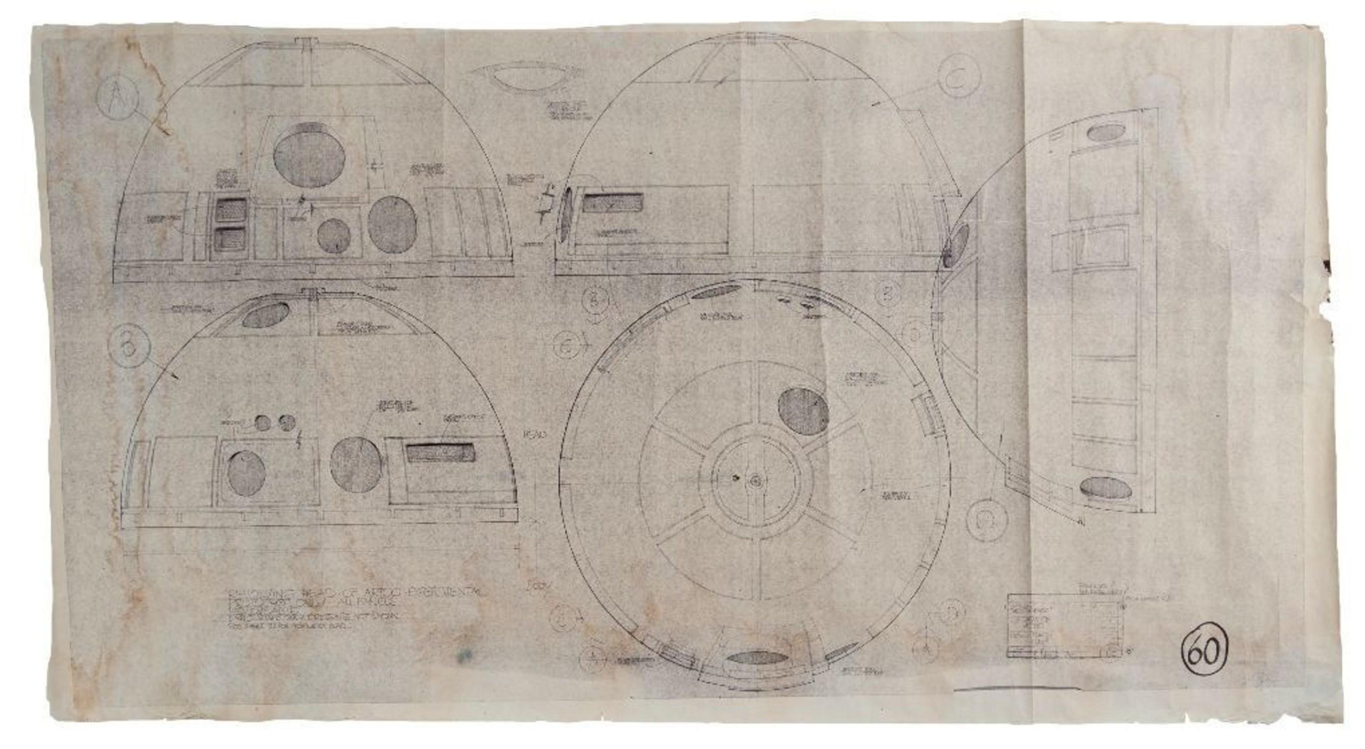 Rare Original Star Wars R2-D2 Blueprint Up for Auction Through November 14th at