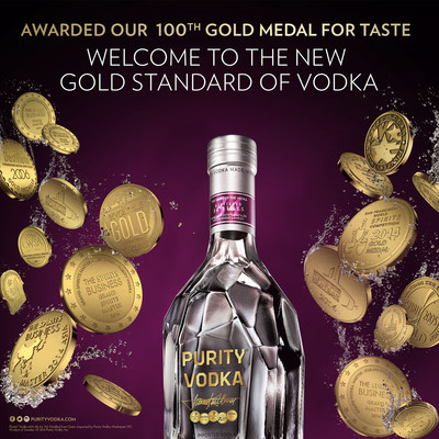 "Purity Vodka Awarded Unprecedented 100th Gold Medal with Fifty Best Competition ""Double Gold."""