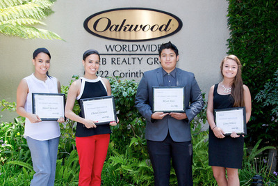 2013 Howard F. Ruby Scholarship WinnersPictured L to R: Jhanel Stewart, Chanel Stewart, Bryan Ruiz, Grace Wilson.  (PRNewsFoto/Oakwood Worldwide)