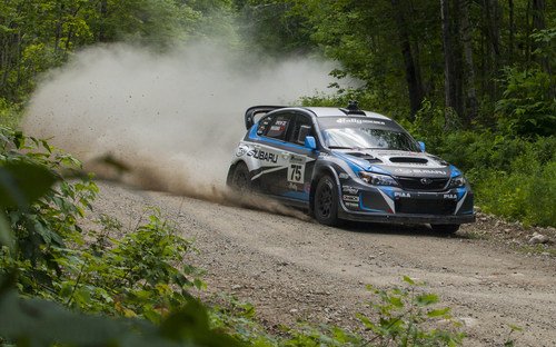 Subaru Driver David Higgins Secures 4th Consecutive Rally America Championship with Win at New England Forest Rally. (PRNewsFoto/Subaru of America, Inc.)