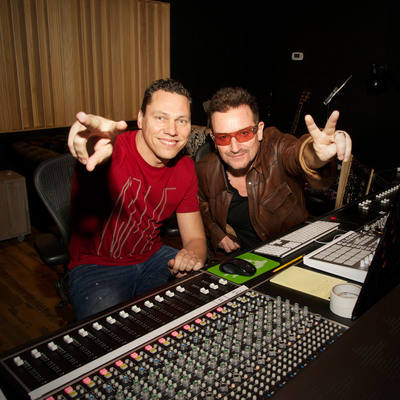 Tiesto and Bono collaborate for (RED) on U2's 'Pride' at Converse Rubber Tracks Studio, Brooklyn; photo credit  Kevin Mazur/WireImage.  (PRNewsFoto/(RED), Kevin Mazur)