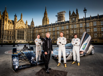 McLaren Honda Test Driver Stoffel Vandoorne, Johnnie Walker(R) Global Responsible Drinking Ambassador Mika Häkkinen pictured with his Caparo T1 supercar and the lesser-seen McLaren 570S supercar, alongside fellow F1 World Champions and McLaren Honda drivers Jenson Button and Fernando Alonso at London's Westminster Parliament buildings. (PRNewsFoto/Johnnie Walker)