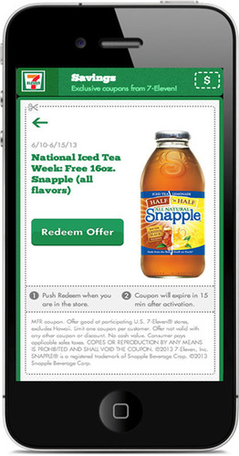Participating 7-Eleven stores extend National Iced Tea Day this week through June 15 with free coupon for 16-oz. Snapple downloaded from its 7-Eleven app.  (PRNewsFoto/7-Eleven, Inc.)