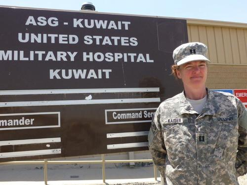 Dr. Rachel Kaiser during her 90-day deployment with the 48th CSH at Camp Arifjan, Kuwait, June-August 2013. ...
