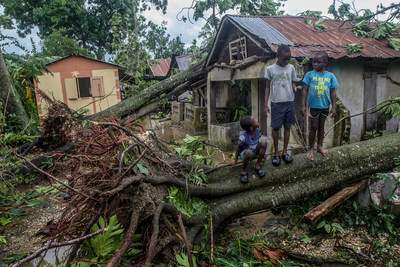 Kids play on a fallen tree, caused by Hurricane Matthew, in front the neighbors' house in Lakil de Leogane village where they live. Two days after Hurricane Matthew hits Haiti, villages along the coastline are devastated by flood and damages from falling trees. Most residents have not received any help yet. Photo Credit: Bahare Khodabande for Save the Children