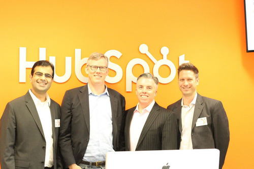 HubSpot executive team at the new Dublin office. From left: Jeetu Mahtani, Managing Director, International; Brian Halligan, CEO and Co-Founder; JD Sherman, COO; Mark Roberge, SVP Sales and Services.  (PRNewsFoto/HubSpot)