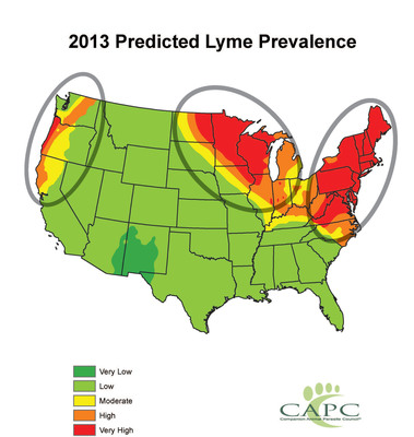 2013 Predicted Lyme Disease Forecast Map by CAPC.  (PRNewsFoto/Companion Animal Parasite Council (CAPC))