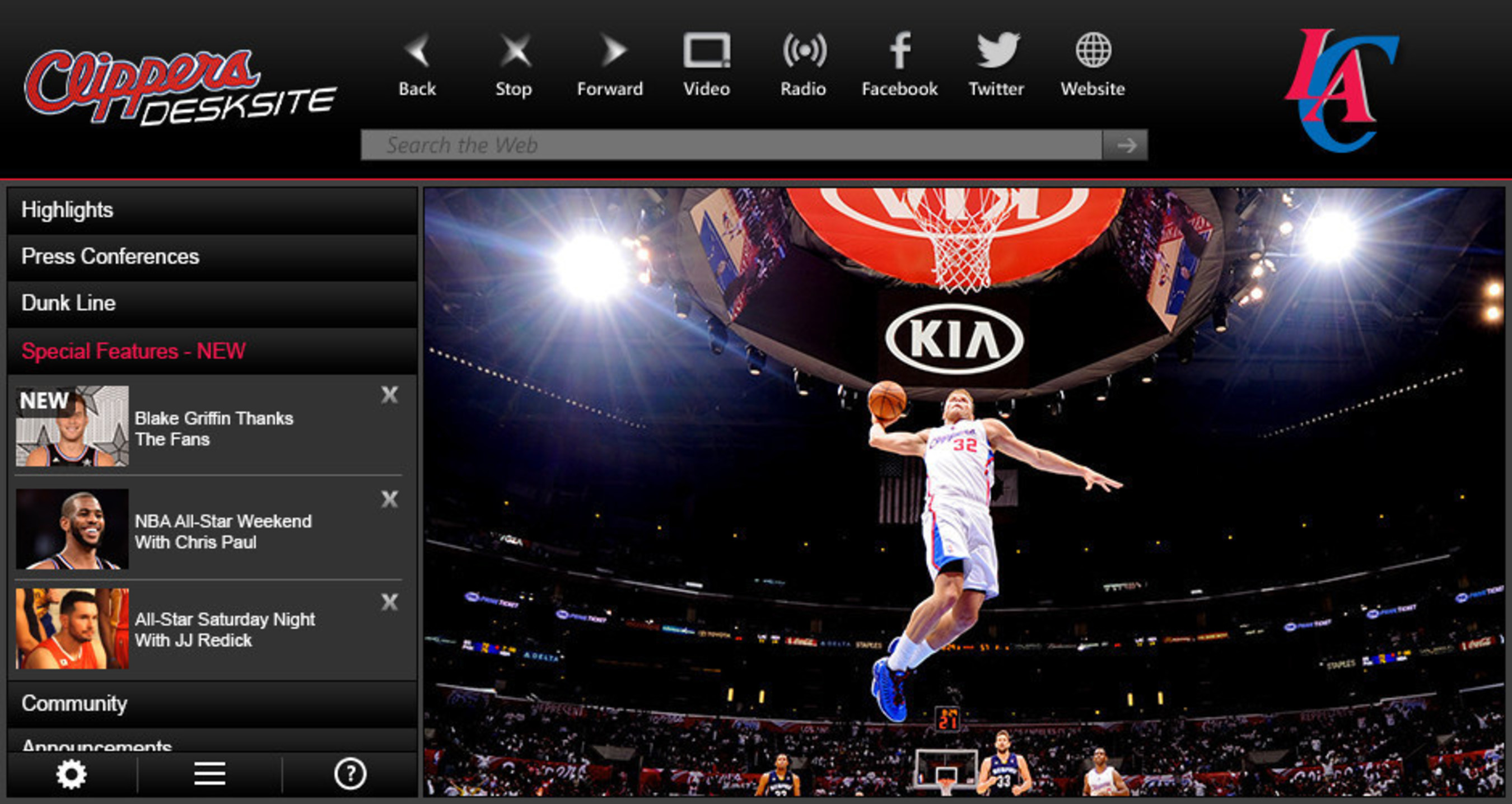 "Los Angeles Clippers launch new ""Big Screen"" video app with DeskSite, becoming the first NBA team to bring this premium HD video experience to fans."