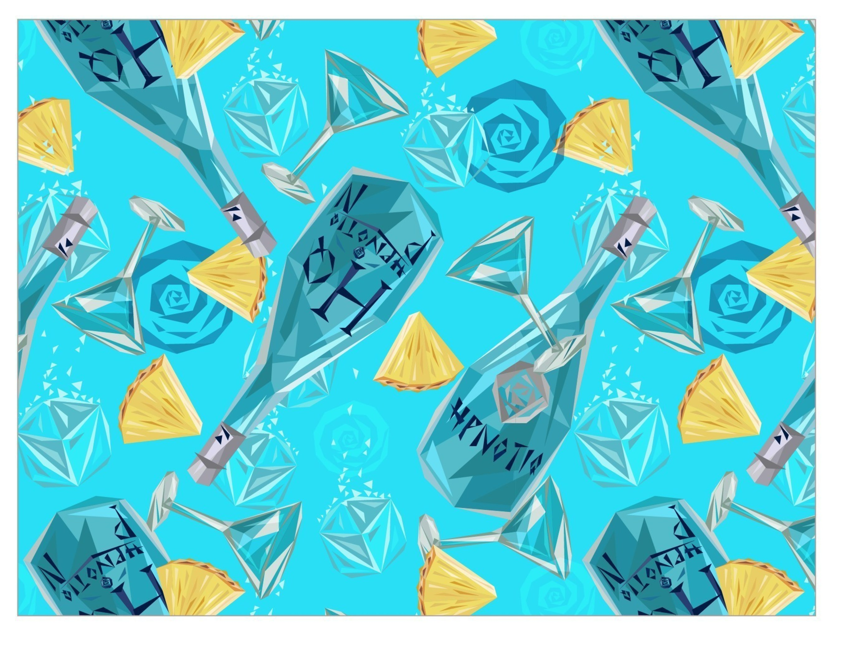 The Hpnotiq Pineapple Passion, as reimagined by artist and brand collaborator Naturel for the new #Since2001 campaign.