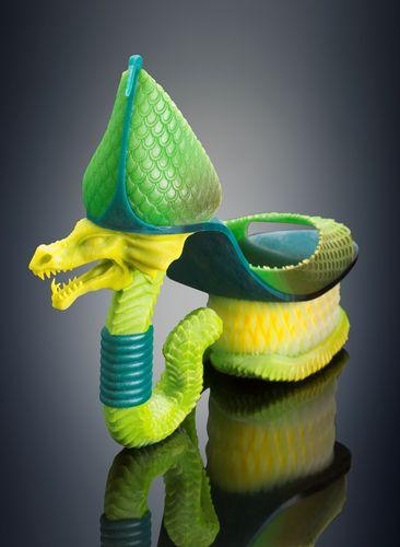 Michaella Janse van Vuuren designed Classic Serpent shoes – 3D printed in a single build; combining rigid and rubber-like materials with vibrant color on the Objet500 Connex3 3D Printer (PRNewsFoto/Stratasys Ltd.)