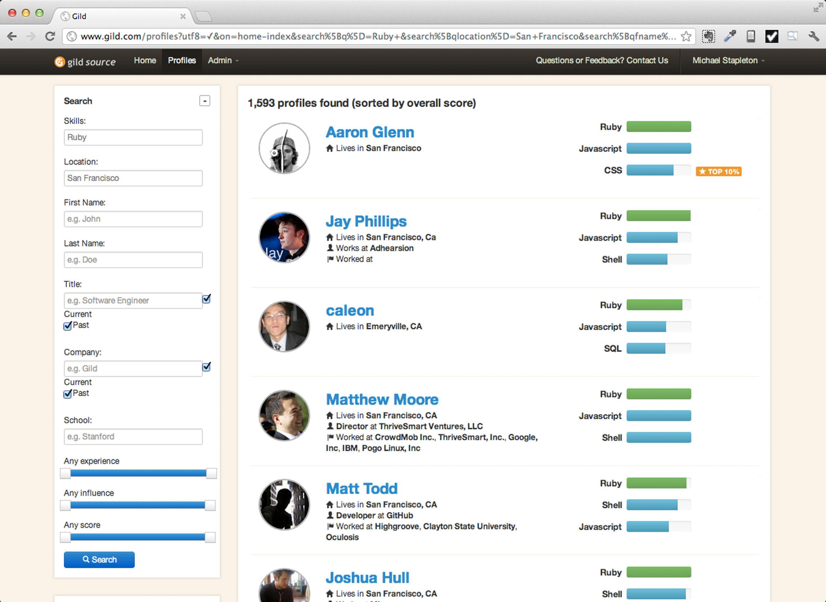 Gild Source Programmer Candidate Search Results.  (PRNewsFoto/Gild)