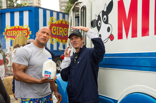 "Dwayne ""The Rock"" Johnson collaborates with director Peter Berg on the first-ever got milk?(R) Super Bowl TV commercial.  (PRNewsFoto/National Milk Mustache 'got milk?(R)' Campaign)"
