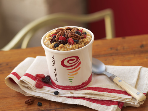 Jamba Juice's Berry Cherry Pecan Oatmeal, available for a limited time only beginning Oct. 29, 2013 in ...