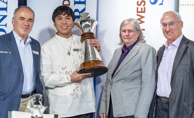 Grandmaster Garry Kasparov (left) and Dr. Jeanne and Rex Sinquefield, founders of the Chess Club and Scholastic Center of Saint Louis (right) present American Grandmaster Wesley So (center) with the Sinquefield Cup champion's trophy at the tournament's Closing Ceremony Aug. 15. The Sinquefield Cup tournament was held at the Chess Club and Scholastic Center of Saint Louis, and is the third of four stops - and the sole U.S. stop - on the international Grand Chess Tour circuit.