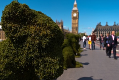 The Body Shop Transforms Westminster Bridge To raise Awareness Of Bio-Bridges. Credit: Getty Images for The Body Shop
