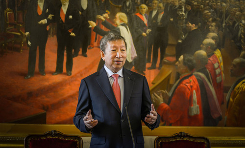 IOC First Vice-President Ser Miang Ng, in the historic Salle Octave Greard at the Sorbonne in Paris, where he ...