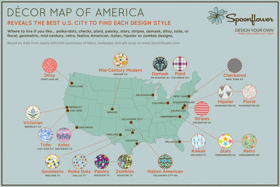 Decor Map Of America Reveals Best City to Live For 19 Design Styles - Based on data from nearly 200,000 purchases on Spoonflower, the custom fabric and wallpaper site. It Decor Map of America shows where to live if you like polka-dots, checks, stripes, plaid, paisley, damask, toile, etc.