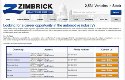 Job Posting Manager results at Zimbrick.com.  (PRNewsFoto/DealerFire)