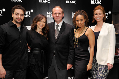 BEVERLY HILLS, CA - MAY 15: (L-R) Actors Ramon Rodriguez, Rosie Perez, Montblanc North America CEO Jan-Patrick Schmitz, actors Tracie Thoms and Diane Neal attend the 2nd Annual Montblanc presentation of The 24 Hour Plays Los Angeles announcement held at Montblanc Rodeo Drive Boutique on May 15, 2012 in Beverly Hills, California. The 24 Hour Plays: Los Angeles is a benefit for Urban Arts Partnership. (Photo by John Sciulli/Getty Images for Montblanc).  (PRNewsFoto/Montblanc, John Sciulli/Getty Images )