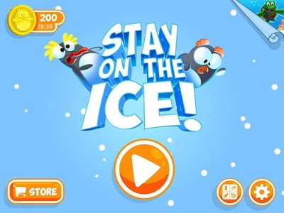 """Stay on the Ice"" is a new app from SeaWorld Kids.   This addictive game challenges players to help adorable penguins keep their balance. Quick reactions are needed to keep the penguins from slipping and sliding right off the iceberg. The trick is super-fast tapping. Don't let the penguins hit the chilling water. As they get near the edge of the ice, quickly tap your finger to turn those playful friends around and back to safety. (PRNewsFoto/SeaWorld Entertainment, Inc.)"